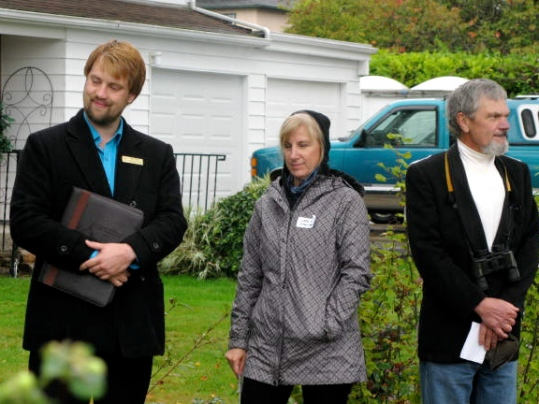 Left to right: Ryan Painter representing MLA Gary Homan,  blond Lady representing MP Elizabeth May, and FOSH  member Kerry Finley wearing his Bufflehead coat