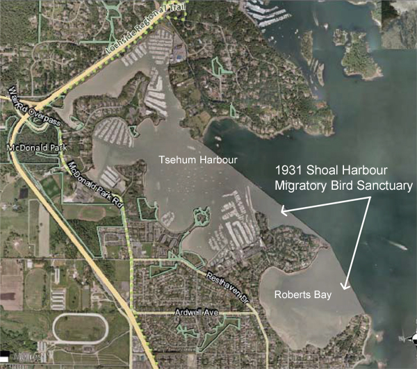 Google Map showing portions of Sidney & North Saanich foreshore that are part of the Migratory Bird Sanctuary. See also History of the Sanctuary.