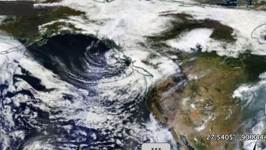 Satellite imagery of cloud cover over the North Pacific on September 1, 2015