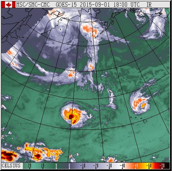 Hurricanes Kilo (left) and Ignacio veering off to the north of Hawaii on September 1st, as the first significant extra-tropical storm rolls over the west coast. http://weather.gc.ca/satellite/animateweb_e.html?imagetype=satellite&imagename=goes_pac_1070_m_