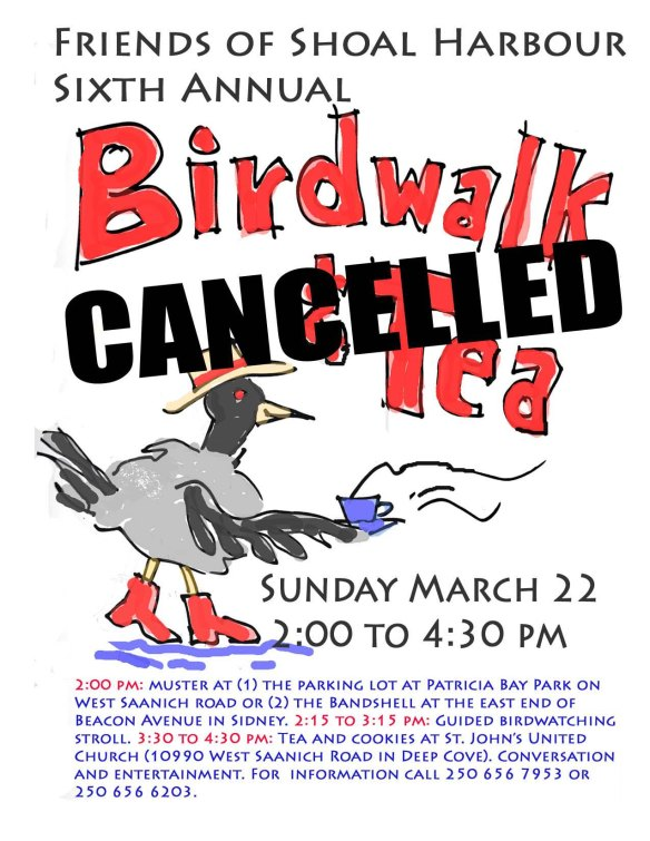 birdwalk and tea cancelled